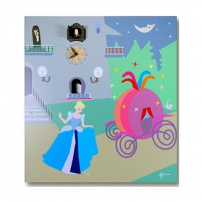 CUCKOO CINDERELLA NIGHT - WATCH WITH PRINT ON WOOD, MOD. WALL