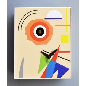CUCKOO KANDINSKY COLLECTION D'APRES PIRONDINI - CLOCK PRINT ON WOOD