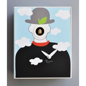 CUCKOO MAGRITTE COLLECTION D'APRES PIRONDINI - CLOCK PRINT ON WOOD