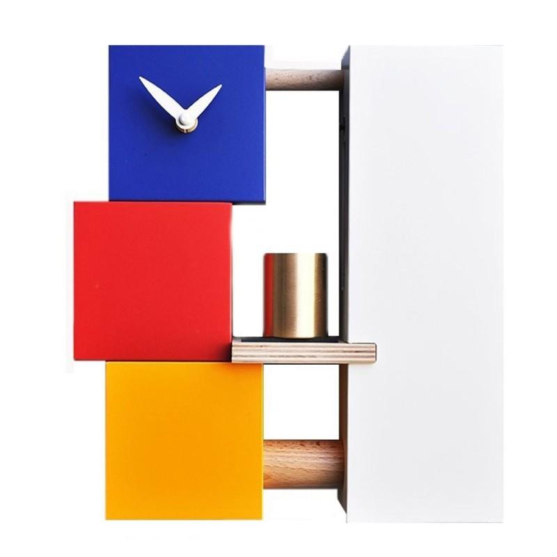 CLOCK BELL MONDRIAN PIRONDINI - WOODEN CLOCK WITH BELLS BRONZE