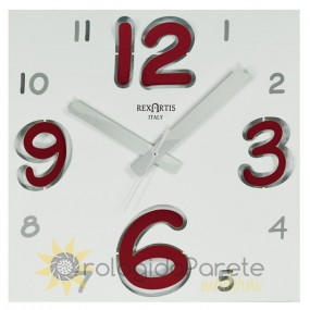 square wall clock, white with red number, rexartis