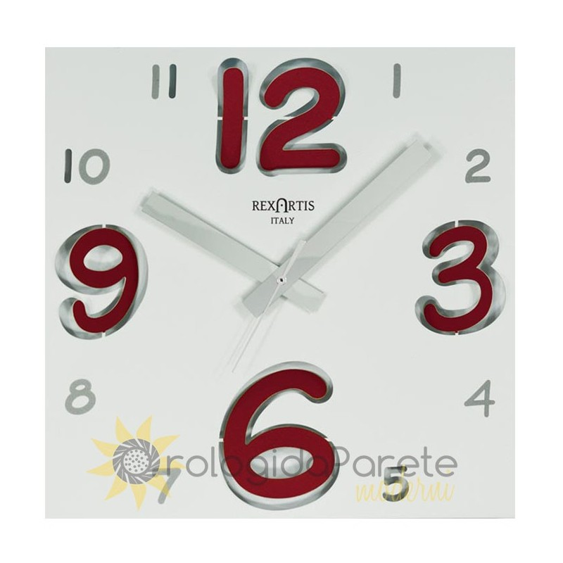 WALL CLOCK DIGIT RED WHITE DIAL