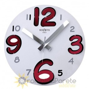 wall clock round, ring rexartis white with red numbers