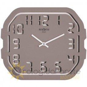 WALL CLOCK MODERN DIGITAL CUT LACQUERED WOOD-DOVE, DARK