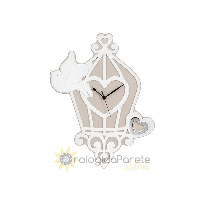 WALL CLOCK bird CAGE - WOODEN
