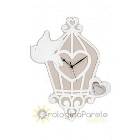 Horloge murale décorative en bois, cage, petit oiseau, de la mémoire, la capacité de parler