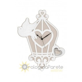 Wall clock decorative wood, cage, little bird, memory, the ability to speak