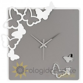 SQUARE WALL CLOCK BUTTERFLY