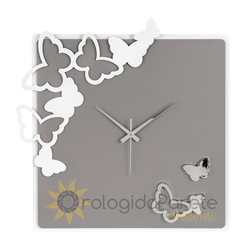 Orologio Moderno Quadrato da Parete Farfalle | Orologidaparetemoderni