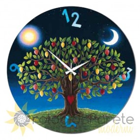 Life tree wall clock painted