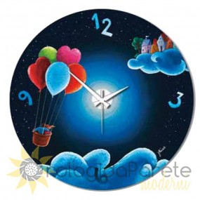 WATCH WOOD HOT AIR BALLOON PAINTED MODERN ROUND WALL COLLECTION SHAN