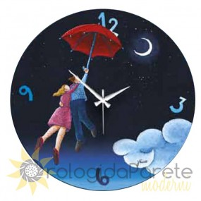 Wall clock decorative hand-painted shan, round