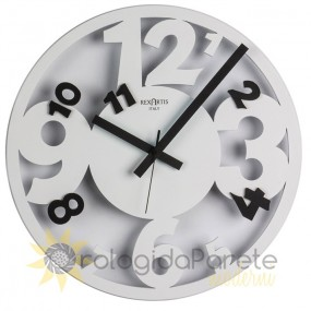 Wall clock round white arabian rexartis