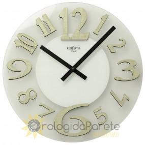 WALL CLOCK MODERN GLASS AND ESSENCE ELM CLEAR