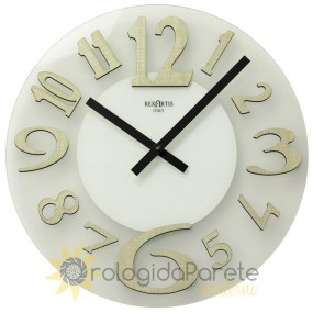 WALL CLOCK MODERN GLASS AND ESSENCE ELM CLEAR