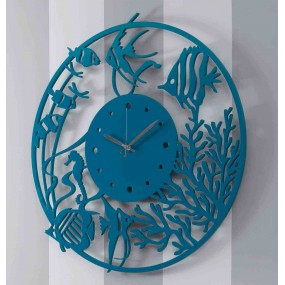 wall clock round glossy lacquered wood