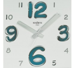 square wall clock in metal, digit rexartis, silent mechanism