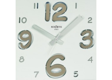 wall clock digit rexartis, white with numbers tortora chiaro
