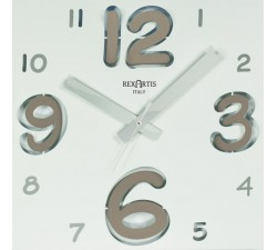Silent wall clock, square, with with taupe number, digit rexartis