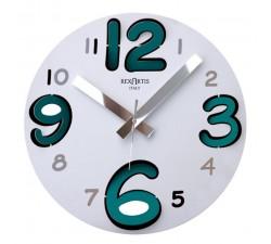 orologio da parete rotondo bianco, metallo, numeri azzurro acquamare, rexartis