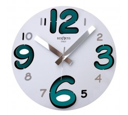 wall clock round white, metal, numbers, blue acquamare, rexartis