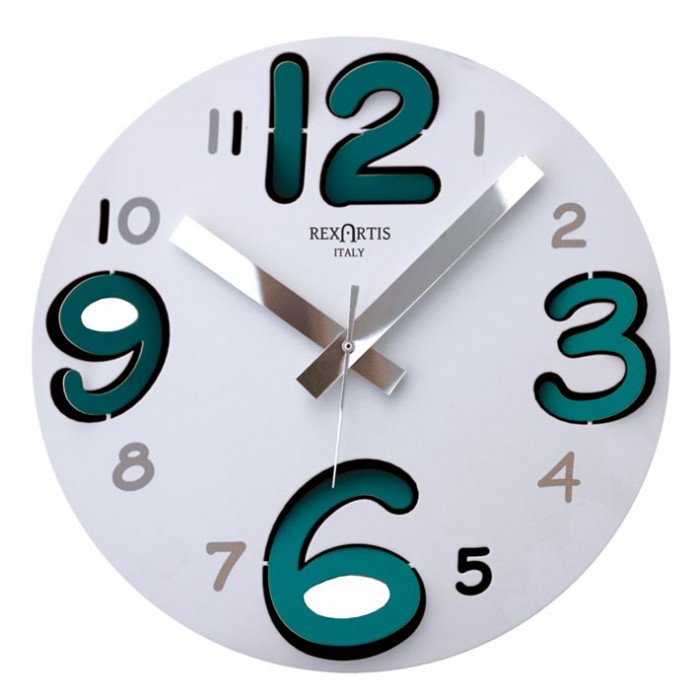 ROUND WALL CLOCK WITH AQUAMARINE NUMBERS