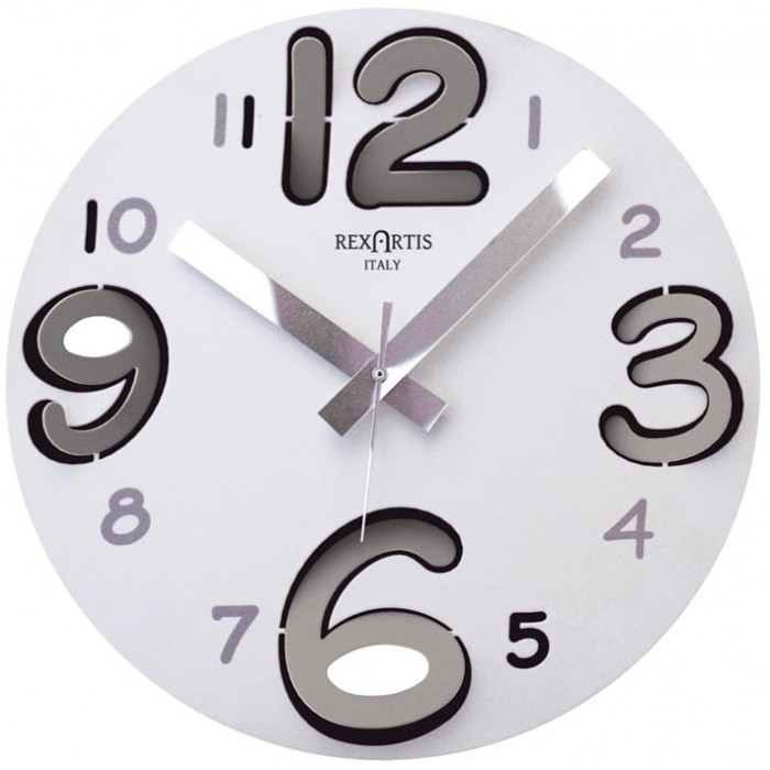 CLOCK ROUND RING, WHITE NUMBERS, SILVER