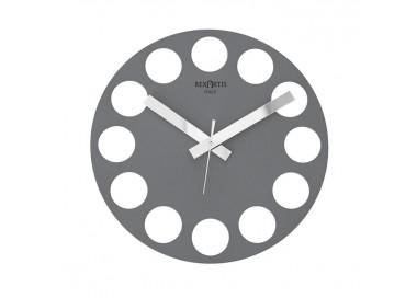 horloge murale moderne design, gris, argent, roundtime rexartis