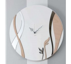 round watch with wood and plexiglass wall
