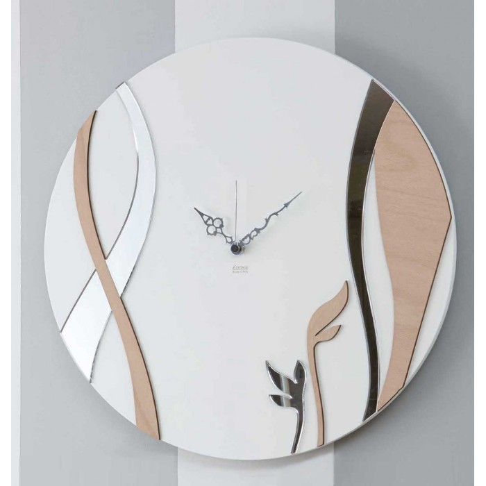 CIRCULAR DECORATED WOOD WALL CLOCK - DETTAGLI COLLECTION