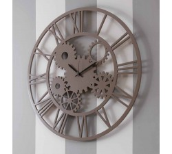 big taupe color made in italy wood wall clock
