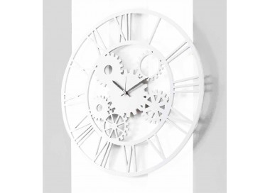 the great clock in white lacquered wood with perforated collection details