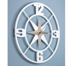 BIG WHITE WOOD WALL CLOCK - DETTAGLI HOME COLLECTION