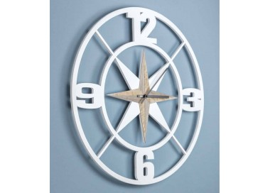 big circular white wood wall clock