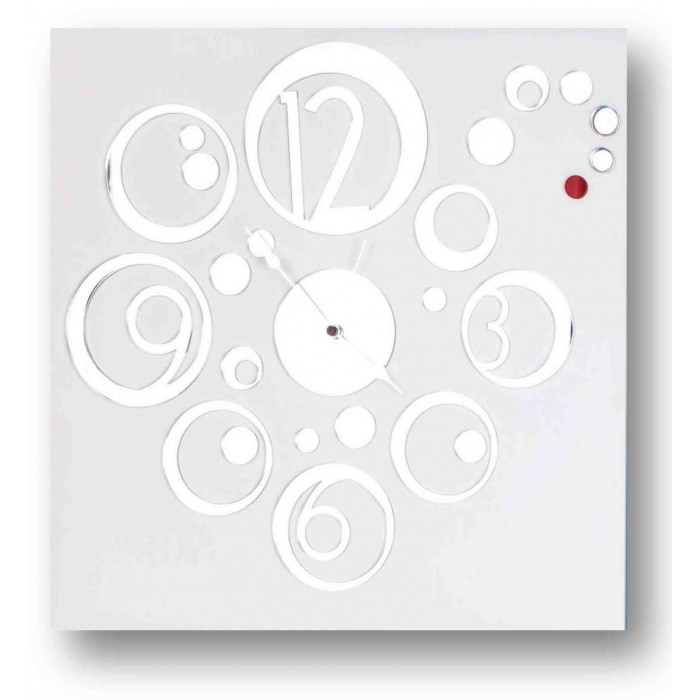 SQUARE DECORATED WOOD WALL CLOCK - DETTAGLI COLLECTION