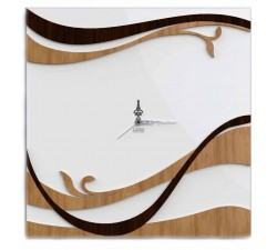 SQUARE CLOCK ON LACQUERED WOOD WALL - DETAILS
