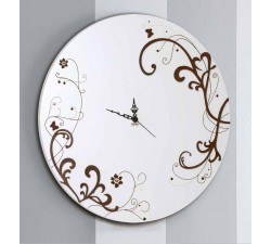 ROUND DECORATED WHITE WOOD WALL CLOCK - DETTAGLI COLLECTION