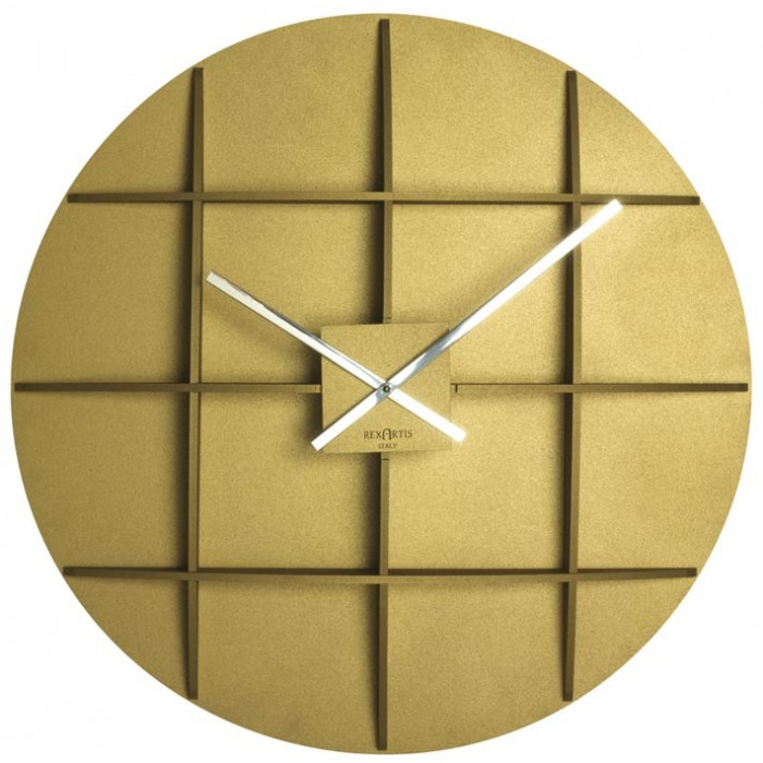 BIG GOLDEN YELLOW WALL CLOCK REXARTIS SQUARE
