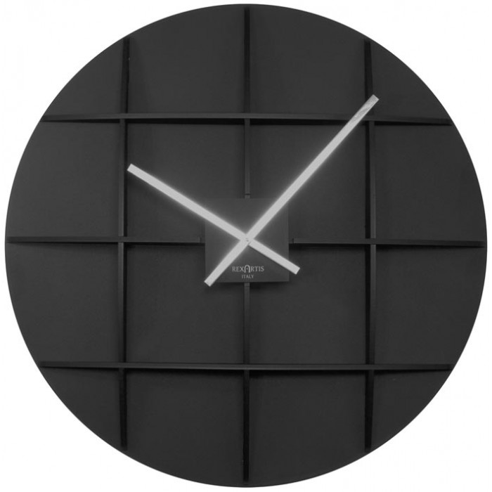 BIG BLACK WALL CLOCK REXARTIS SQUARE