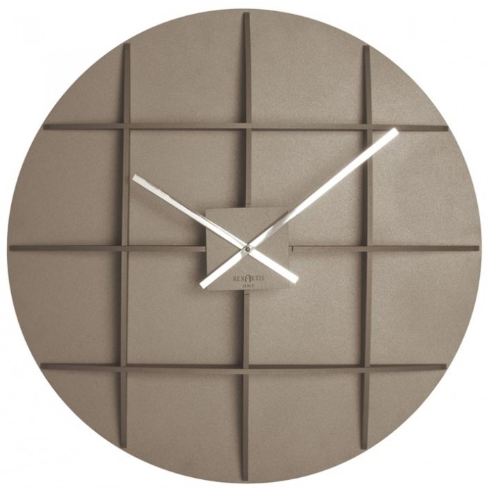 BIG TAUPE WALL CLOCK REXARTIS SQUARE