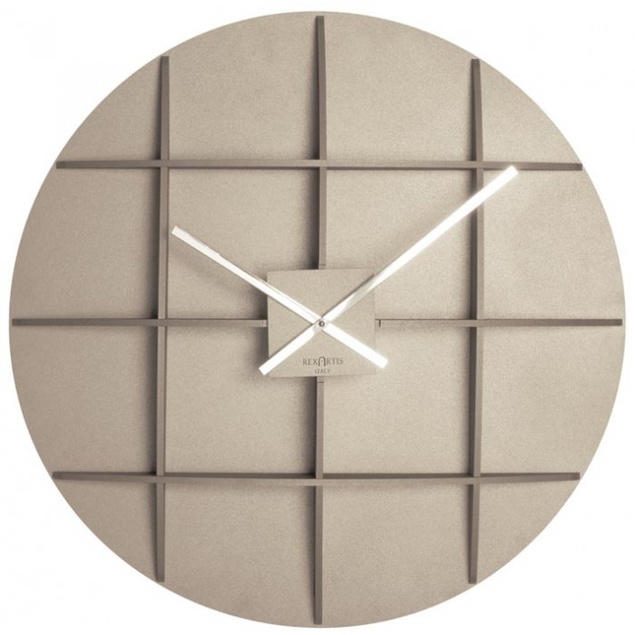 BIG LIGHT TAUPE WALL CLOCK REXARTIS SQUARE