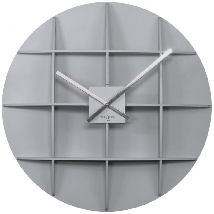 BIG SILVER WALL CLOCK REXARTIS SQUARE