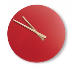 wall clock round wood lacquered red