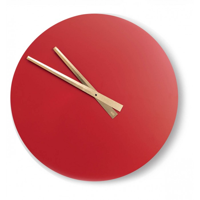 GREAT ROUND CLOCK IN LACQUERED WOOD RED WALL