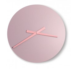 GREAT ROUND CLOCK IN LACQUERED WOOD PINK-MAUVE WALL