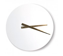 wall clock round wood lacquered white