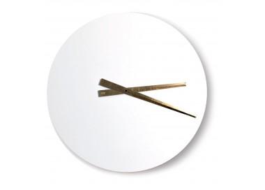 horloge murale ronde en bois laqué blanc