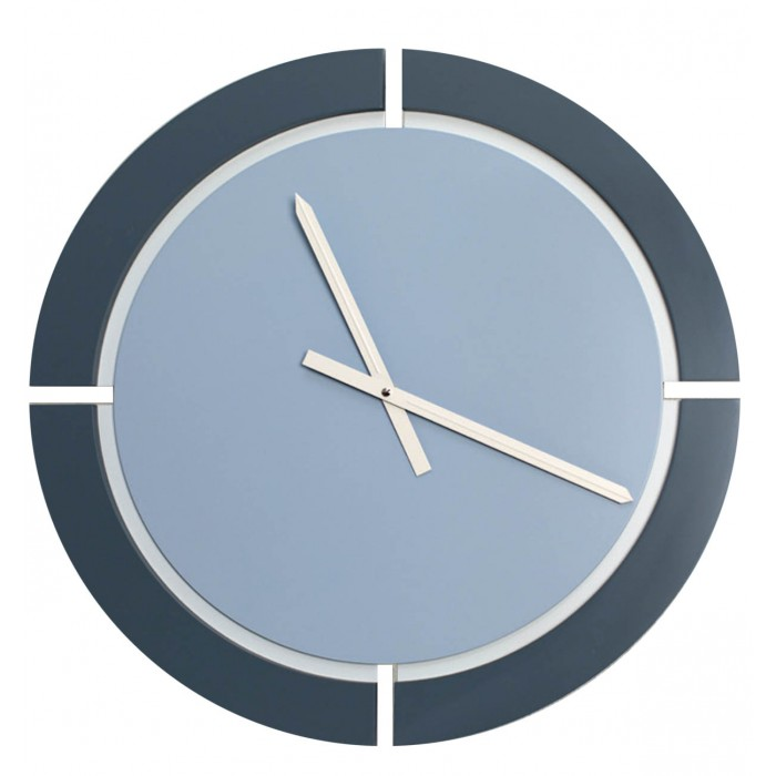 ROUND CLOCK IN LACQUERED WOOD two-tone WALL