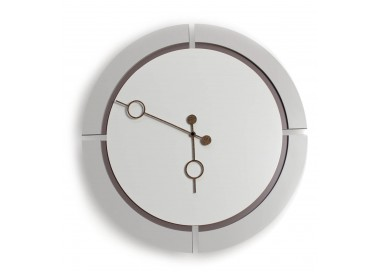 wall clock round wood lacquered in two-tone