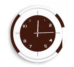 horloge murale ronde en bois laqué en deux tons